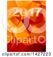 Clipart Of A New Year 2017 And Orange Geometric Background Royalty Free Vector Illustration by elaineitalia
