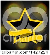 Black And Yellow Star And Banner Over Blurred Lights