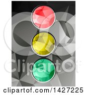Clipart Of A Low Poly Geometric Red Yellow And Green Traffic Light Over Gray Royalty Free Vector Illustration by elaineitalia