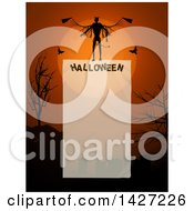 Halloween Border Of A Demon Against A Full Moon Over A Cemetery With Silhouetted Bare Trees Over Halloween And Text Space