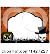 Poster, Art Print Of Tombstone Halloween Party Invitation Border Frame With A Spider Black Jackolantern Pumpkin And Skull Wearing A Top Hat Over Orange Grunge