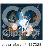 Alice Falling Down The Rabbit Hole To Wonderland
