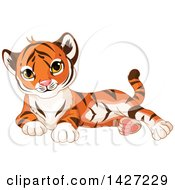 Clipart Of A Cute Adorable Baby Tiger Cub Resting Royalty Free Vector Illustration by Pushkin