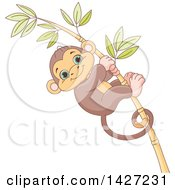 Clipart Of A Cute Adorable Baby Monkey Clinging To A Bamboo Stalk Royalty Free Vector Illustration