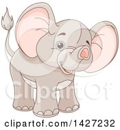 Clipart Of A Cute Adorable Baby Elephant Royalty Free Vector Illustration by Pushkin