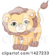 Clipart Of A Cute Adorable Male Lion With Green Eyes Royalty Free Vector Illustration by Pushkin