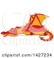 Clipart Of A Red And Orange Dragon Sleeping Royalty Free Vector Illustration