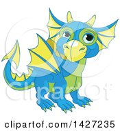 Clipart Of A Cute Blue Green And Yellow Baby Dragon Royalty Free Vector Illustration