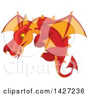 Clipart Of A Red And Orange Dragon Flying Royalty Free Vector Illustration