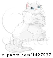 Clipart Of A Cute Adorable Fluffy Blue Eyed Long Haired White Cat Looking Back Royalty Free Vector Illustration