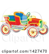 Clipart Of A Colorful Vintage Antique Convertible Car Royalty Free Vector Illustration