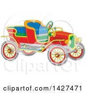 Clipart Of A Cartoon Vintage Antique Convertible Car Royalty Free Vector Illustration