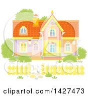 Clipart Of A Two Storey Home Royalty Free Vector Illustration