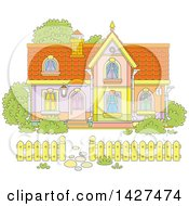 Clipart Of A Cartoon Two Storey Home Royalty Free Vector Illustration