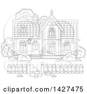 Clipart Of A Cartoon Black And White Lineart Two Storey Home Royalty Free Vector Illustration