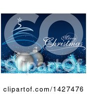 Merry Christmas Greeting With A Scribble Tree 3d Silver Snowflake Baubles And Branches Over Blue