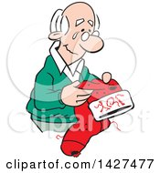 Clipart Of A Cartoon Nostalgic Old Caucasian Man Holding A Christmas Stocking And Thinking Of Happy Memories Royalty Free Vector Illustration