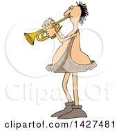 Cartoon Chubby Caveman Musician Playing A Trumpet