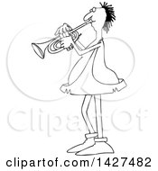 Cartoon Black And White Lineart Chubby Caveman Musician Playing A Trumpet