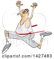 Clipart Of A Cartoon Chubby Caucasian Man Running And Breaking Through A Finish Line Royalty Free Vector Illustration