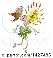 Clipart Of A Cartoon Day Of The Dead Mexican Skeleton Burping Hot Chili Peppers Royalty Free Vector Illustration