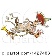 Cartoon Dog Stealing A Mexican Day Of The Dead Skeleton Holding A Trumpet