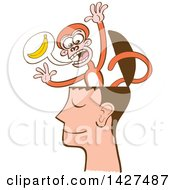 Clipart Of A Cartoon Mind Monkey In A Mans Head Screaming About Bananas Royalty Free Vector Illustration by Zooco