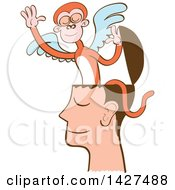 Clipart Of A Cartoon Mind Monkey In A Mans Head Flying Away Royalty Free Vector Illustration by Zooco