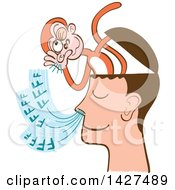 Clipart Of A Cartoon Mind Monkey In A Mans Head Listening To His Breathing Royalty Free Vector Illustration by Zooco