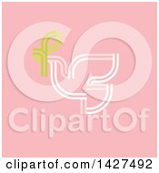 Clipart Of A White Pigeon With Green Olive Branch On Pink Royalty Free Vector Illustration