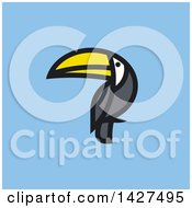 Flat Styled Toucan Bird On Blue