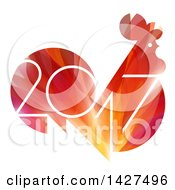 Clipart Of A 2017 Year Of The Rooster Chinese Zodiac Design In Red And Orange Royalty Free Vector Illustration by elena