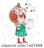 Cartoon Festive Caucasian Woman Singing Christmas Carols