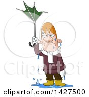 Clipart Of A Cartoon Soaking Wet Man Holding A Broken Umbrella In The Rain Royalty Free Vector Illustration