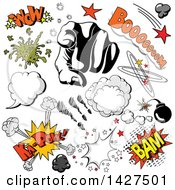 Clipart Of A Pointing Hand And Comic Design Elements Royalty Free Vector Illustration