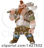 Clipart Of A Tough Angry Dwarf Man Warrior Holding An Axe Over His Shoulder Royalty Free Vector Illustration by Pushkin