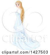 Clipart Of A Beautiful Blond Elf Princess In A White Dress Royalty Free Vector Illustration
