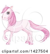 Clipart Of A Cute Pink Horse With Magicaly Sparkly Hair Royalty Free Vector Illustration