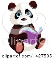 Clipart Of A Cute Adorable Baby Panda Sitting And Reading A Book Royalty Free Vector Illustration by Pushkin