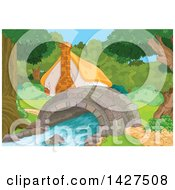 Clipart Of A Cute Cottage In The Woods Next To A Creek With A Foot Bridge Royalty Free Vector Illustration by Pushkin