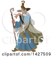 Clipart Of A Long Haired Old Male Wizard Holding A Staff And Pointing Royalty Free Vector Illustration by Pushkin