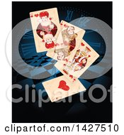 Clipart Of A Wonderland Queen Of Hearts And Other Playing Cards Over A Clock Face And Checkers Royalty Free Vector Illustration by Pushkin