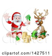 Clipart Of A Happy Rudolph Red Nosed Reindeer And Santa Making A Sand Castle Royalty Free Vector Illustration