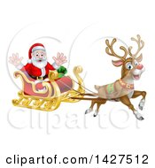 Rudolph The Red Nosed Reindeer Flying Santa In A Sleigh