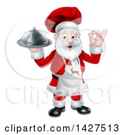 Clipart Of A Cartoon Happy Christmas Santa Claus Gesturing Ok Wearing A Reindeer Apron And Holding A Food Cloche Platter Royalty Free Vector Illustration