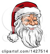 Clipart Of A Cartoon Jolly Santa Claus Face In A Christmas Hat Royalty Free Vector Illustration by AtStockIllustration