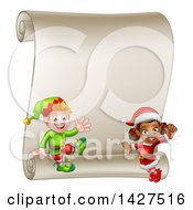 Clipart Of Happy Christmas Elves By A Blank Scroll Sign Royalty Free Vector Illustration