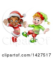 Clipart Of Happy Christmas Elves Dancing Royalty Free Vector Illustration by AtStockIllustration