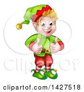 Clipart Of A Happy Caucasian Male Christmas Elf Giving Two Thumbs Up Royalty Free Vector Illustration