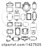 Clipart Of Black And White Ornate Vintage Frames Royalty Free Vector Illustration